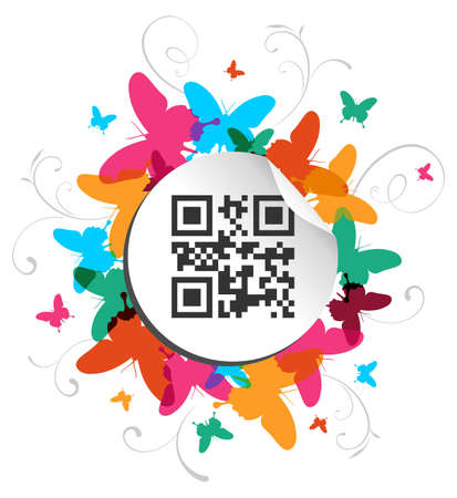 qr: Spring time concept background with qr code label  Vector file available