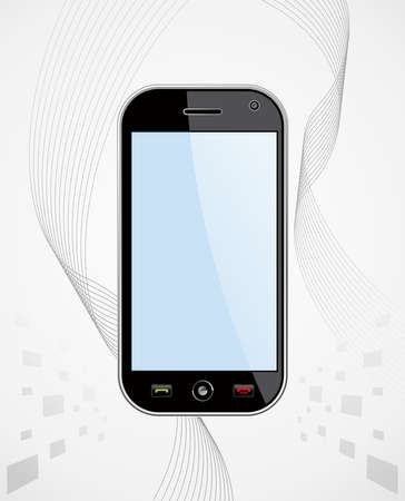touchscreen phone: Generic black smartphone on white background with blank space for your own design or image  Useful for mobile applications presentation  EPS 8 vector, cleanly built with no open shapes or strokes  Grouped and ordered in layers for easy editing   Illustration