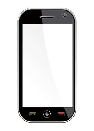 cleanly: Generic black smartphone isolated over white with blank space for your own design or image  Useful for mobile applications presentation  EPS 8 vector, cleanly built with no open shapes or strokes  Grouped and ordered in layers for easy editing   Illustration