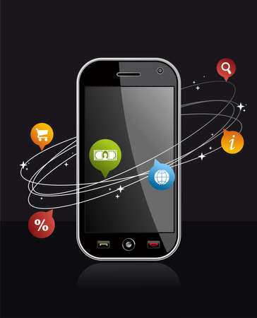 mobile sms: Black smartphone with app on dark background  Mobile or Cell Phone device vector illustration