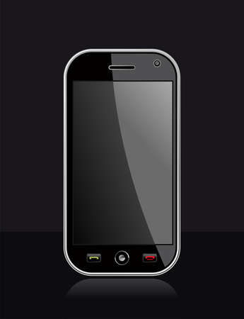Generic black smartphone on black background with blank space for your own design or image  Useful for mobile applications presentation  EPS 8 vector, cleanly built with no open shapes or strokes  Grouped and ordered in layers for easy editing   Vector