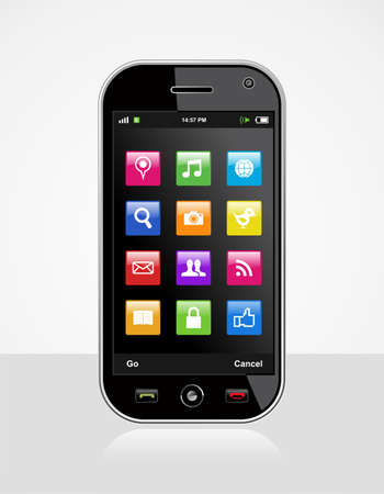 e cash: Smartphone with colored application icons on white background  Mobile device or cell Phone vector illustration