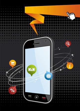 phone money: Smartphone Negro con aplicaci�n en m�vil fondo negro o la ilustraci�n de la c�lula dispositivo de tel�fono vector