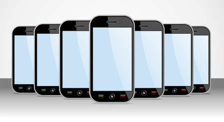 Set of generic black smartphones templates on black background  You can place your own images on the screens  EPS 8 vector, cleanly built with no open shapes or strokes  Grouped and ordered in layers for easy editing   Stock Vector - 12855601