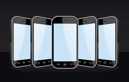Set of black smartphones templates on black background  You can place your own images on the screens  EPS 8 vector, cleanly built with no open shapes or strokes  Grouped and ordered in layers for easy editing   Stock Vector - 12855609
