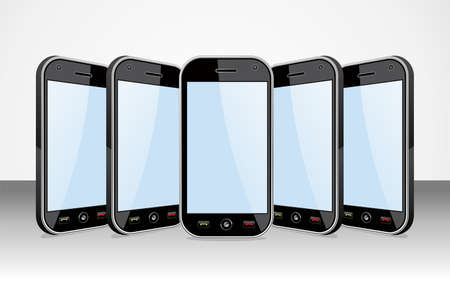 Set of black smartphones templates on white background  You can place your own images on the screens  EPS 8 vector, cleanly built with no open shapes or strokes  Grouped and ordered in layers for easy editing   Stock Vector - 12855605