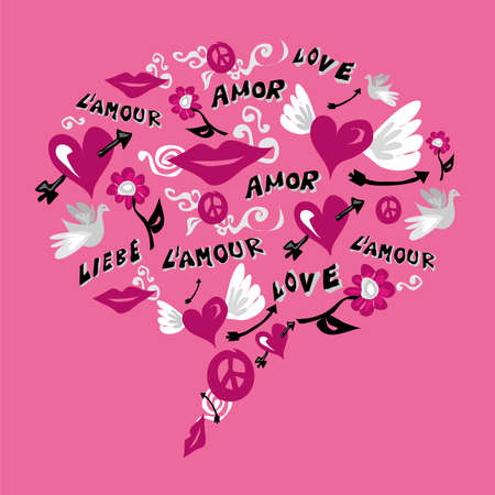Social media speech bubble made with icons of love over pink background Vector