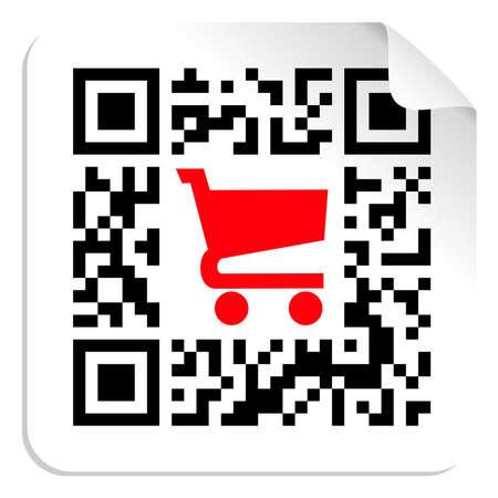 icon shopping cart: QR-Code-Label Schild mit roten Einkaufswagen-Symbol. Vektor-Datei zur Verf�gung.
