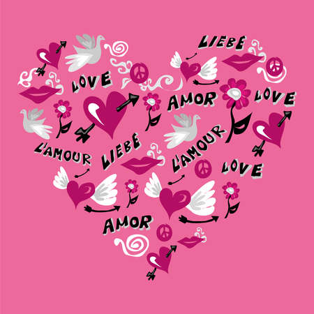 fall in love: Love symbols composition in heart shape over pink background. Vector file available.