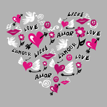 Love symbols composition in heart shape over gray background. Vector file available. Vector