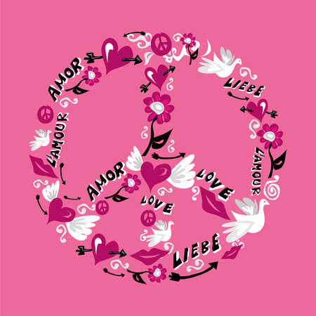 Symbol of peace made with icons of love over pink background. Vector file available. Vector