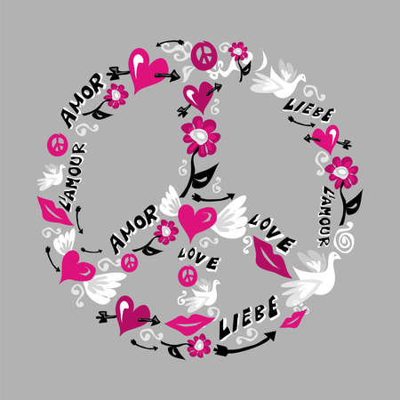 pacifist: Symbol of peace and love made with icons of love over grey background. Vector file available.