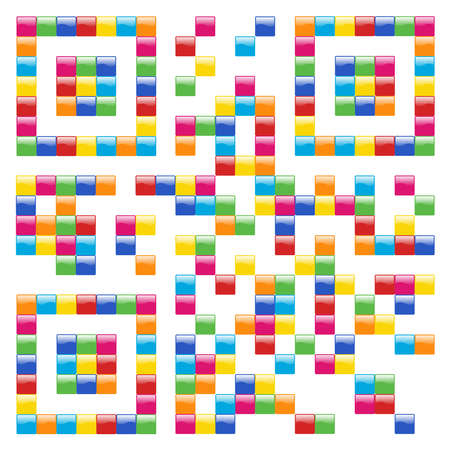 Multicolored Qr code concept design background. Vector file available. Vector