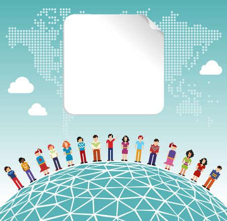 conectar: Red social de medios de conexi�n con el concepto de etiqueta vac�a y el fondo mapa del mundo. Archivo vectorial en capas para la manipulaci�n f�cil y personalizaci�n.