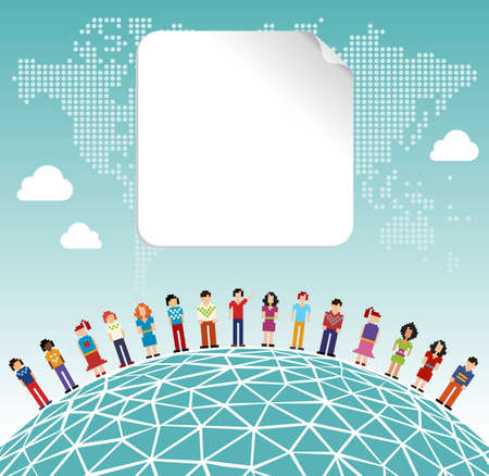 Social media network connection concept with empty label and World map background. Vector file layered for easy manipulation and customisation. Stock Vector - 12855624
