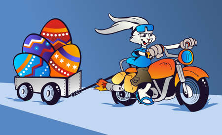 pampered: Cartoon rabbit mounted on a motorcycle transporting huge Easter eggs on blue background   Vector file Layered for easy manipulation and custom coloring