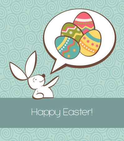 One Easter bunny with painted eggs in a social speech dialogue bubble in pastel colors Vector file layered for easy manipulation and custom coloring  Vector