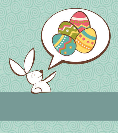 pampered: One Easter bunny with painted eggs in a social speech dialogue bubble in pastel colors Vector file layered for easy manipulation and custom coloring