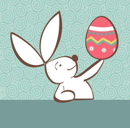 pascua: One Easter bunny with painted Easter egg in the hand on pastel green background  Vector file layered for easy manipulation and custom coloring