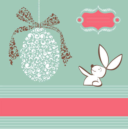 Easter egg in tribal style and rabbit background  Vector file layered for easy manipulation and custom coloring  Stock Vector - 12855632