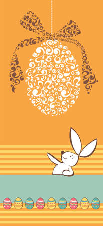 vetical: Easter egg in tribal style and bunny vetical invitation background  Vector file layered for easy manipulation and custom coloring  Illustration