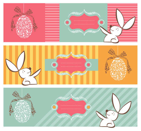 Easter egg in tribal style and rabbit banner background set  Vector file layered for easy manipulation and custom coloring  Stock Vector - 12855636