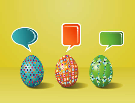 customisation: Communicative social media eggs decorated for Happy Easter on yellow background  Vector file layered for easy manipulation and customisation  Illustration