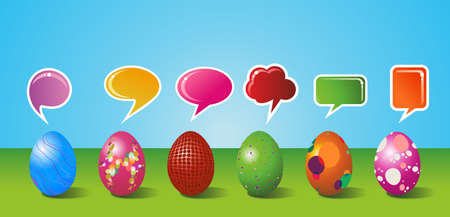 customisation: Social media eggs set decorated for Happy Easter with colorful dialogue bubble on blue and green background  Vector file layered for easy manipulation and customisation  Illustration