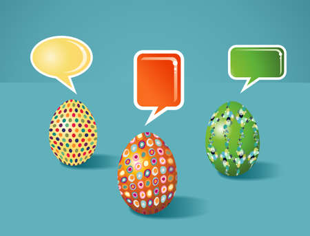 customisation: Social media eggs set decorated for Happy Easter with colorful dialogue bubble on blue background  Vector file layered for easy manipulation and customisation  Illustration