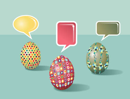 customisation: Social media talking eggs set decorated for Happy Easter with colorful dialogue bubbles on pastel colors background  Vector file layered for easy manipulation and customisation