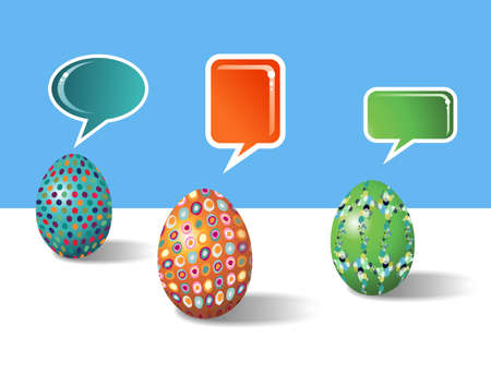 customisation: Decorative 3d social media eggs communication over white and bluy background  Vector file layered for easy manipulation and customisation  Illustration