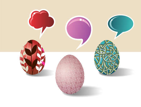 customisation: Social media eggs set decorated for Happy Easter with colorful dialogue bubbles on white background  Vector file layered for easy manipulation and customisation  Illustration
