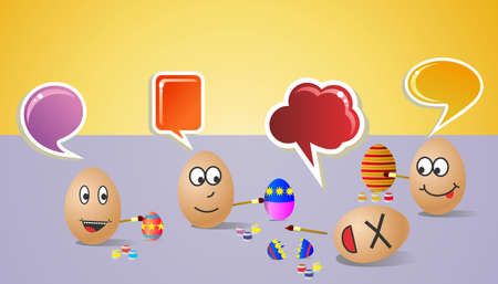 customisation: Funny illustration about happy painters eggs for Easter with colorful social dialogue bubble  Vector file layered for easy manipulation and customisation
