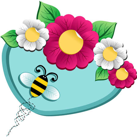 decode: Spring time concept  bee on the spring flower with label isolated over white background