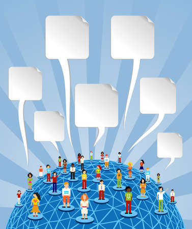 business relationship: Social media people network connection concept with blank bubbles speech over World globe  Vector file layered for easy manipulation and customisation