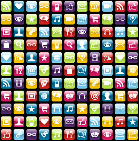 headphones icon:  Smartphone app icon set seamless pattern background. Vector file layered for easy manipulation and customisation.
