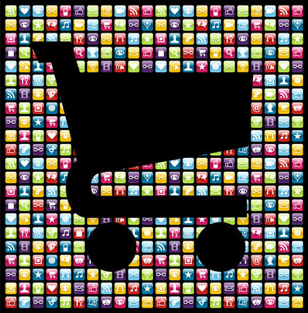 mobile shopping: Shopping cart shape over smartphone application software icons background. Vector file layered for easy manipulation and customisation.