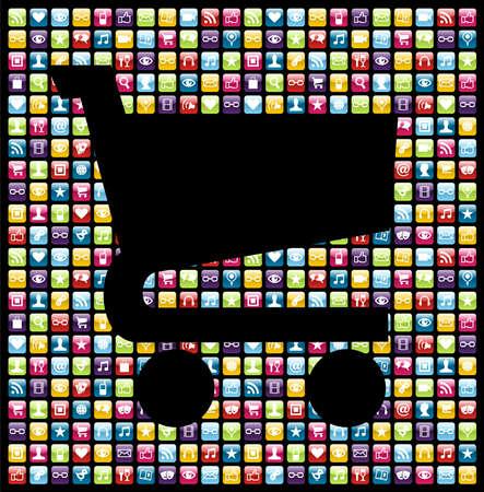 Winkelwagen vorm over iPhone applicatie-software iconen achtergrond. Vector bestand gelaagd voor eenvoudige manipulatie en maatwerk.