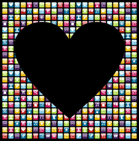 Love heart shape over smartphone application software icon set background. Vector file layered for easy manipulation and customisation. Stock Vector - 12966383