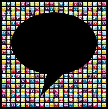 ic�ne logiciel: Forme de la bulle sociale sur les t�l�phones mobiles des logiciels d'ic�nes d'applications mis en arri�re-plan. Fichier vectoriel couches pour une manipulation facile et la personnalisation.