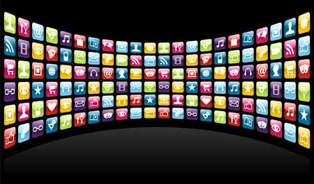 Smartphone nube de aplicación conjunto de iconos de fondo. Archivo vectorial en capas para la manipulación fácil y personalización. Ilustración de vector