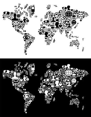 Social media icons set in Earth globe map shape illustration. Vector file layered for easy manipulation and customisation. Stock Vector - 12966376
