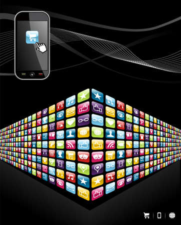 Smartphone application wall icons on black background file layered for easy manipulation and customisation
