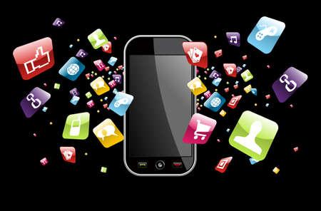 telecomunicaci�n: iconos de las aplicaciones salpicar de tel�fono en el expediente fondo negro en capas para la manipulaci�n f�cil y personalizaci�n