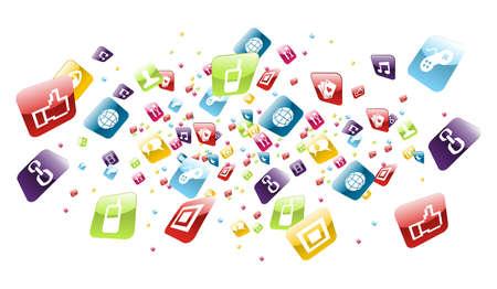 web application: l'applicazione 'esplosione icone sul file sfondo bianco a strati per una facile manipolazione e la personalizzazione