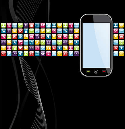 smartphone mano: Le icone delle applicazioni smartphone su file di sfondo nero, a strati per una facile manipolazione e la personalizzazione