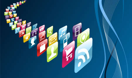 mobile sms: application store icons on blue background  file layered for easy manipulation and customisation