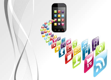 mobile sms: Smartphone application download on gray background file layered for easy manipulation and customisation