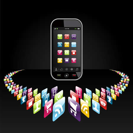 mobile sms: Application icons for mobile device in circle on black background file layered for easy manipulation and customisation  Illustration