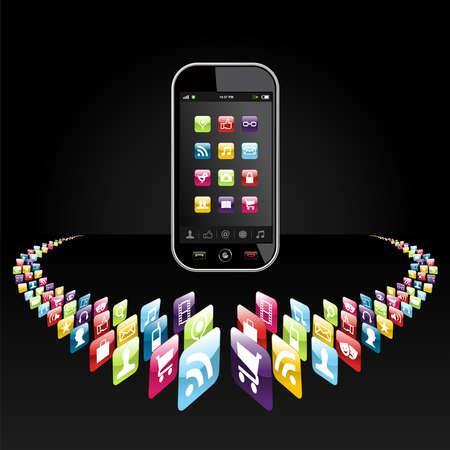 smartphone mano: Le icone delle applicazioni per dispositivi mobili in cerchio su sfondo nero del file a pi� livelli per una facile manipolazione e la personalizzazione Vettoriali
